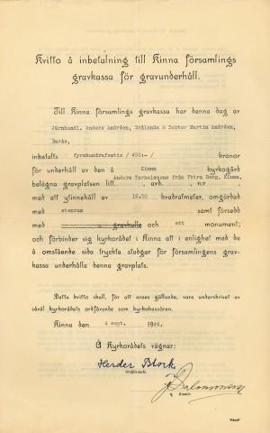 Kvitto för övertagande av underhåll för Anders Torkelssons familjegrav.
