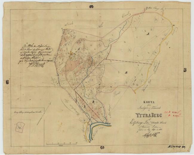 Yttra Berg. Karta från laga skifte 1832. Bild från Lantmäteriet.