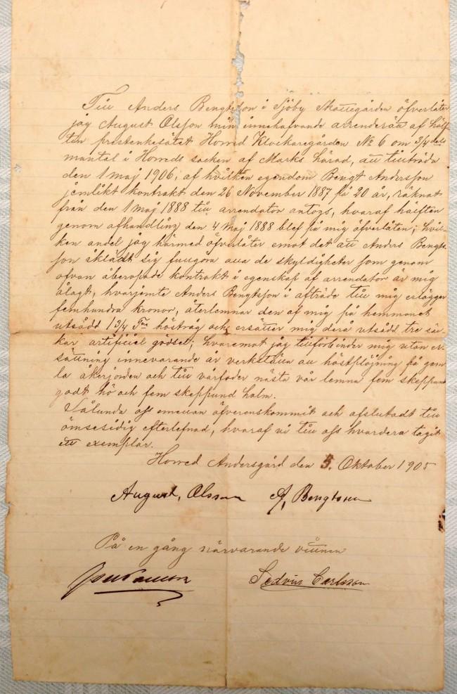 Arrendeavtalet i original för Klockaregården, gällande från den 1 maj 1906.