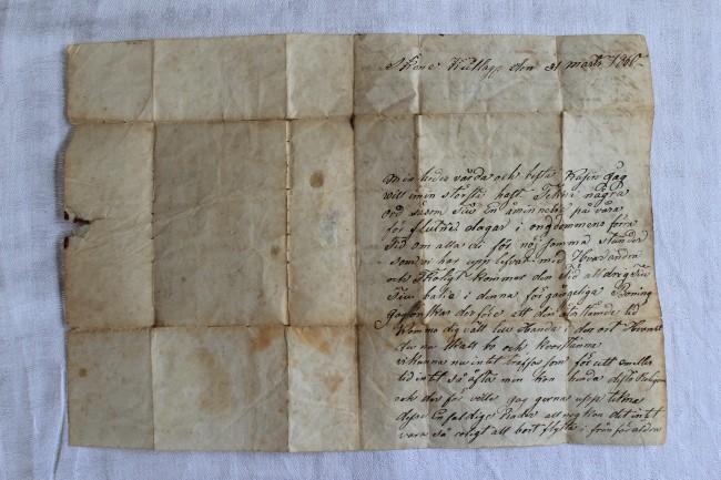 Maria Torkelsdotters brev från sin kusin Johanna Andersson. Brevets början.