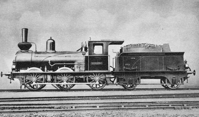 Lokomotiv nr 1 Warberg. Foto från Minnesskriften Varberg-Borås järnväg 1930.