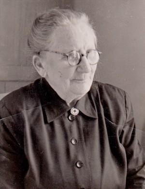 Lina Karlsson, Edared Karlsberg Fotskäl, 80 år. Foto från 1953.