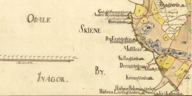 Örby socken Skene nr 2-6 8-11 Storskifte på skog skogsmark 1765. Från Lantmäteriet.