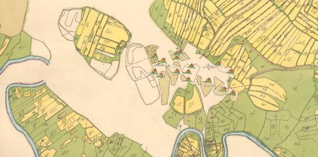 Kinna socken Kinna nr 1-16 Storskifte på inägor 1799. Från Lantmäteriet.