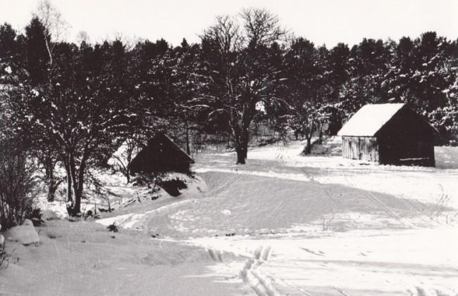 """""""Emanuels torp"""" från 1800-talet, på Sjöby Mellangård nära Heden och Nolhagen. Foto: Kjell-Åke Brorsson på 1950-talet."""