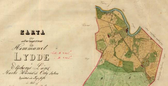Laga-skifte 1861. Karta över alla ägorna till hemmanet Lydde. Från Lantmäteriet.