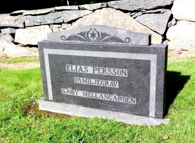 Gravstenen efter rengöringen, Elias Perssons familjegrav