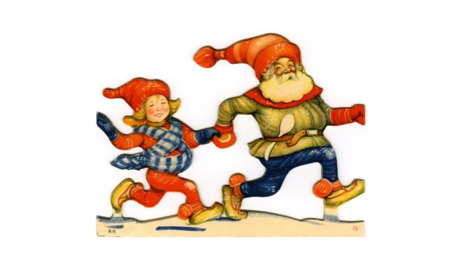 Två jultomtar på bokmärke.