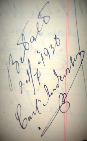 Carl Anderssons namnteckning 1930 i en av böckerna.