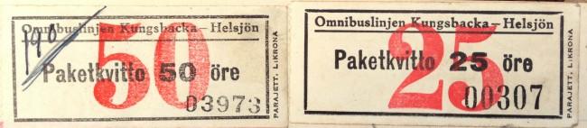 Kvitton från 1948 för leverans med Lidbergs buss.