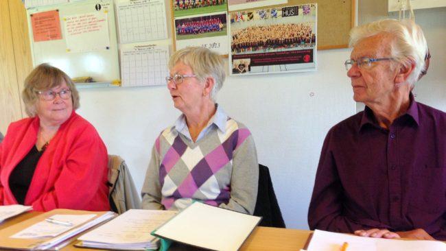Ann-Mari Andersson, Elisabeth Bergdahl och Sven-Arne Svenheden, Styrelsens höstmöte 2016.