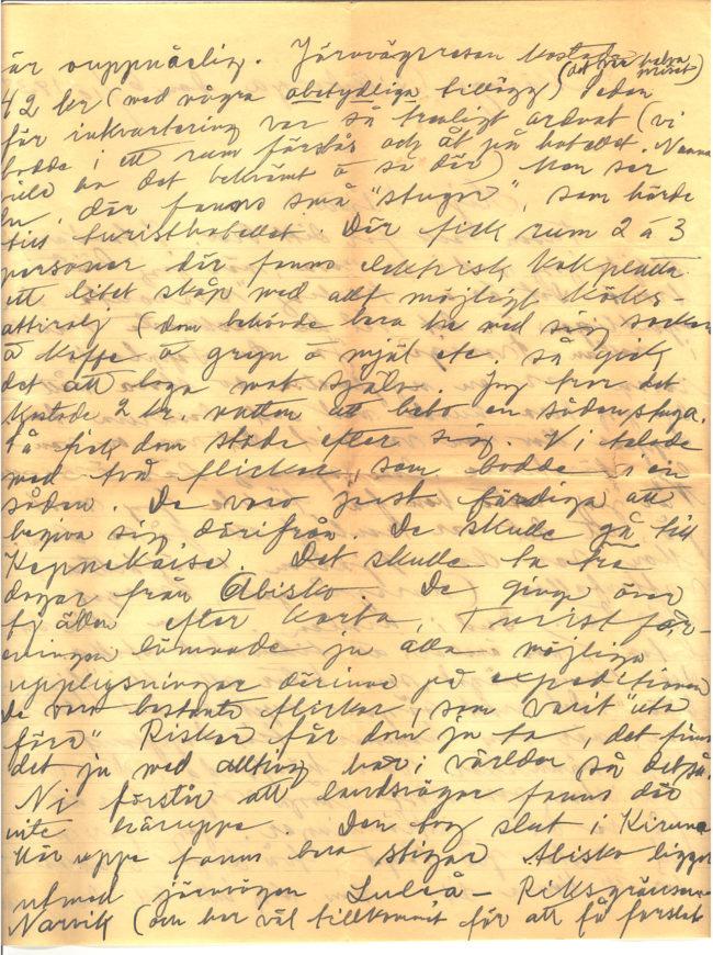 Brev från Gärda Månsson till Wilma Karlsson daterat 1938-10-06. Gärda berättar om sin resa till Lappland samt om vardagslivet som lärarinna i Södra Möinge, Skåne. Del 2 av 4.
