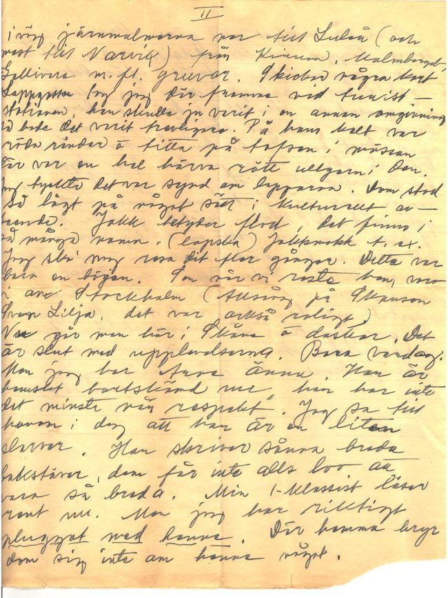 Brev från Gärda Månsson till Wilma Karlsson daterat 1938-10-06. Gärda berättar om sin resa till Lappland samt om vardagslivet som lärarinna i Södra Möinge, Skåne. Del 3 av 4.