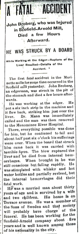 Lokaltidningen Marinette Daily Eagle, den 9 oktober 1897