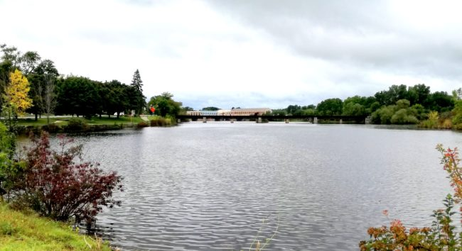 Menominee River vid Marinette 2018. Foto: Ingela Andersson 2018.