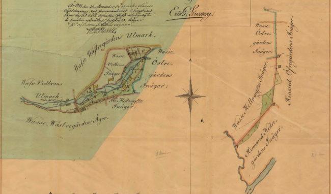 Karta från 20 december 1848 över Vasse by med ägor, byggnader, kvarnar, sågverk mm.